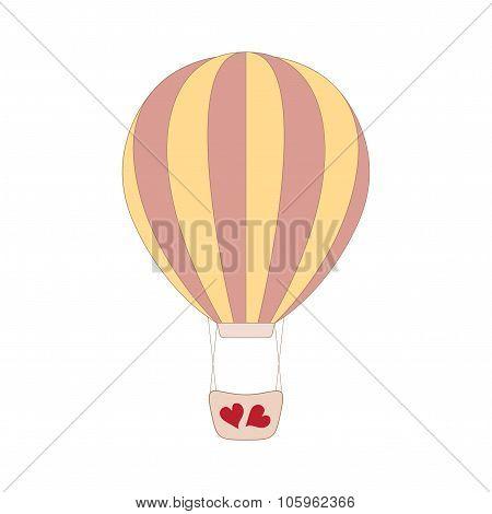 Vector wedding pink balloon on white