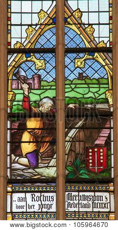 Stained Glass - Lumberjack Working With An Axe