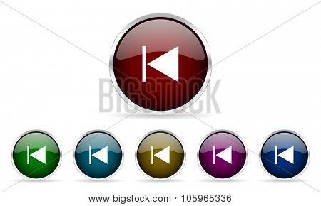 prev colorful glossy circle web icons set