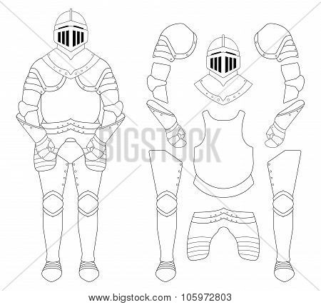 Medieval knight armor set. Helmet, shoulders, gloves, breastplate, leggings. Contour lines clip art vector illustration isolated on white poster