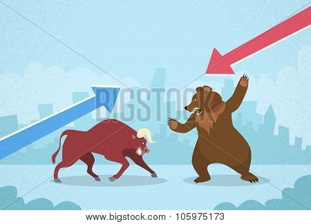Bull vs Bear Stock Exchange Concept Finance Business