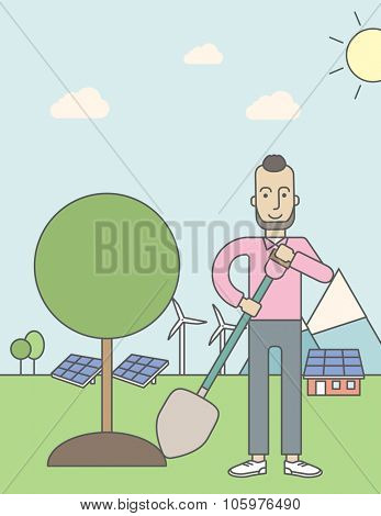 A caucasian hipster man with beard plants a tree on a background with solar pannels and wind turbins. Vector line design illustration. Vertical poster layout with a text space.