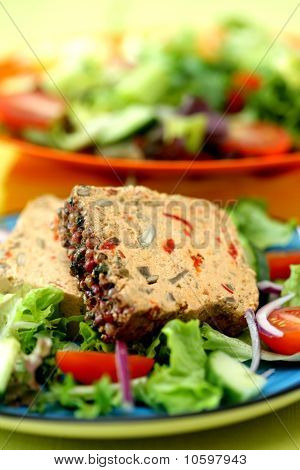 Spicy Aubergine Pate with Salad
