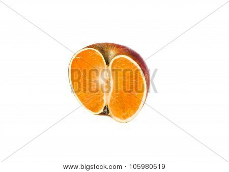 apple and orange genetically modified symbiosis. Isolated on white background