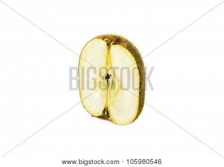 kiwi and apple genetically modified symbiosis. Isolated on white background