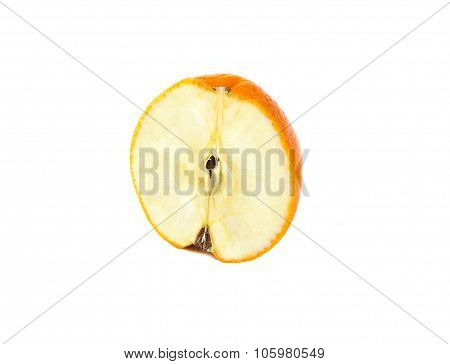 orange and apple genetically modified symbiosis. Isolated on white background