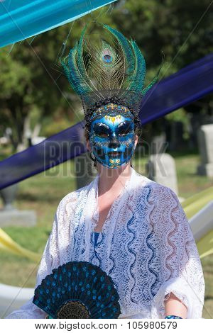 Woman With Colorful Ornament On The Head And Sugar Skull