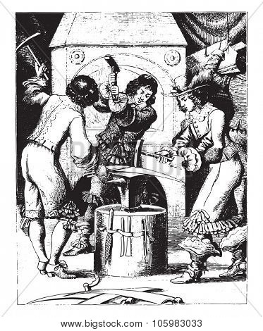 Blacksmiths toolmakers, vintage engraved illustration. Magasin Pittoresque (1882).