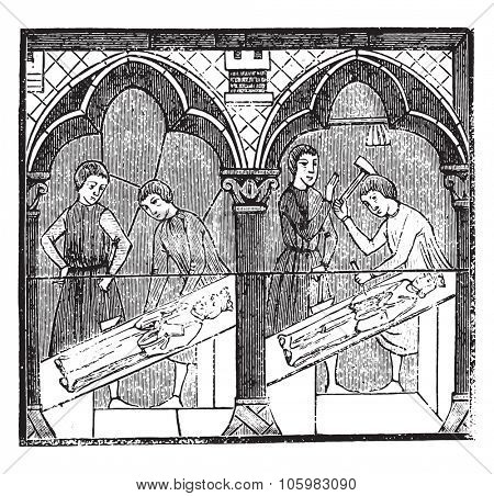 Image makers the thirteenth century, after a stained glass of Chartres cathedral, vintage engraved illustration. Magasin Pittoresque 1882.