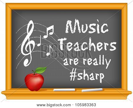Music teachers are really #sharp chalk text with music notes, treble clef on staff, wood frame blackboard with eraser and apple. poster
