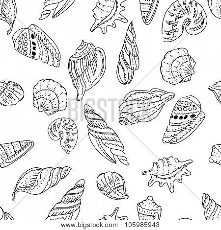 Seamless marine pattern with shells.Black and white colors. Endless texture for your design, announcements, postcards, posters.