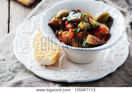 Traditional Sicilian Dish Caponata With Eggplant And Tomato