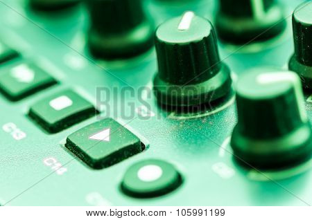 Synthesizer patch panel Close-up button knob on touch panel poster
