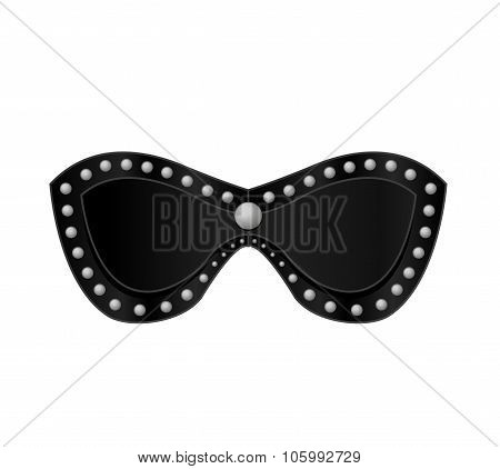 Unisex Black Leather Eye Mask, Blinder Patch, Sm, Bdsm, Sextoys