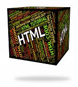 Html Word Indicating Hypertext Markup Language And Words Code poster