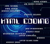 Html Coding Showing Hypertext Markup Language And Software Program poster
