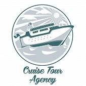 Cruise tour agency logo design with liner ship vector illustration poster