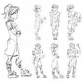 Set of vector full-length hand-drawn Caucasian teens black and white front and side view sketch of girls with a flower teddy bear and a butterfly monochrome illustration of standing adolescent with hand crossed on chest. poster