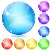 Set of opaque spheres of various colors with glares and shadows poster