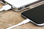 closeup phone charging white power bank portable devie poster