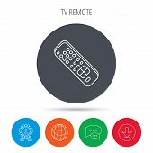 Remote control icon. TV switching channels sign. Globe, download and speech bubble buttons. Winner award symbol. Vector poster