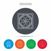 Ventilation icon. Fan or propeller sign. Globe, download and speech bubble buttons. Winner award symbol. Vector poster