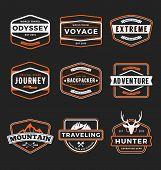 Set of badge logo outdoor adventure and traveling gear badge logo emblem logo label design. Vector illustration poster