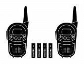 Two travel portable mobile vector radio set devices wit 4 accumulator batteries. Black silhouette illustration isolated on white poster