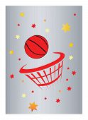 a basketball and net with silver background poster