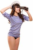 The Beautiful navy pinup girl with binocular poster