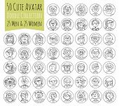 Cartoon funny user avatars in trendy hand drawn doodle style. Set of women men character faces with different emotions professions hobby. Cute vector illustration isolated on white. All people organized in groups for easy editing. poster