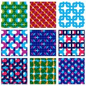 Set of multicolored grate seamless patterns with parallel ribbons and geometric figures transparent symmetric bright wavy tiles infinite geometric surface textures with diamonds and squares vector abstract tiling. poster