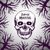 Dia de muertos - mexican background. Day of the dead. Skull horror Vector poster
