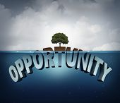 Unknown opportunity concept as three dimensional text hidden underwater with a viral healthy tree growing on a small piece above water as a metaphor for success and motivation to search for hidden opportunities in business and life. poster