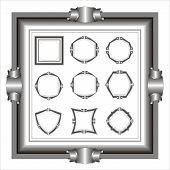 set of frame. ten black-and-white frames. an illustration. poster