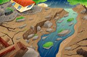 A vector illustration of monsoon rain resulting in flood an mudslide poster