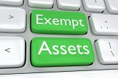 Render illustration of computer keyboard with the print of Exempt Assets on two adjacent green buttons poster