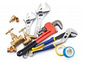 various type of plumbing tools on white background poster