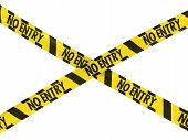 Yellow and Black Hazard Stripes NO ENTRY Tape Cross poster