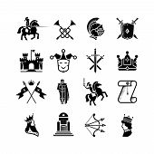 Knight medieval history vector icons set. Middle ages warrior weapons. Arrow and crown, clown and knight, kingdom and throne illustration poster
