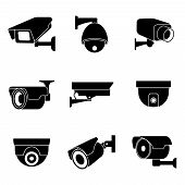 Security surveillance camera, CCTV vector icons set. Private protection safety, surveillance and watching illustration poster