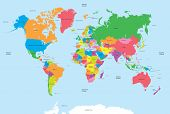 Vector colored political world map with names of countries, oceans poster