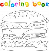 Hamburger unpainted. Coloring book for kids about fast food. Vector illustration poster