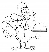 Coloring Page Outline Of A Thanksgiving Turkey Bird Chef Holding A Platter poster