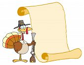 Happy Thanksgiving Turkey Bird Holding A Musket By A Blank Menu Scroll poster