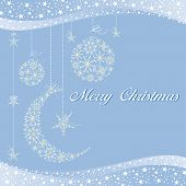 Merry Christmas greeting card on starry blue background poster