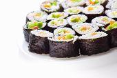 Japanese sushi traditional japanese food on white background poster