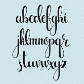 Handwritten brush style modern calligraphy cursive font. Calligraphy alphabet. Cute calligraphy letters. Isolated letters. For postcard or poster decorative graphic design. poster