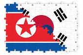 South Korean and North Korean Relations Concept Image - Flags of South Korea and North Korea Jigsaw Puzzle poster