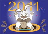 New year begins, a hare flies on the carpet.Illustration.Background poster